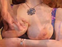 Redhead milf in shiny dress bent over and fucked