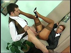 Sexy milf in business outfit has great sex