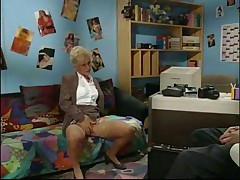 Horny mature woman in the office