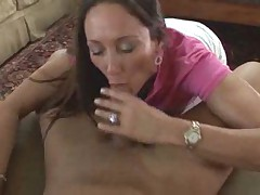 Milf in a Polo shirt sucks cock to get fucked