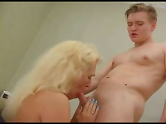 Young guy lays the curvy Russian blonde milf