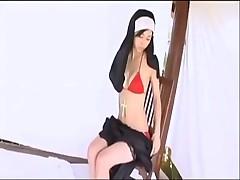Amazing Asian nun Mizuho Hata gets naked
