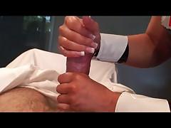 Babe in latex nurse dress masturbates cock