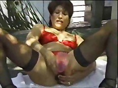 Mature in black stockings fucked by young guy