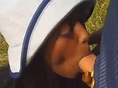 Ebony sugar babe Bagheera fucks and sucks outdoors