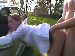 Young Blonde Pounded by her BF Outdooors