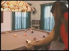 Teen asian on pool table