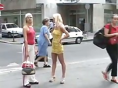 Sexy blonde flashing in public