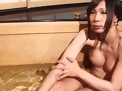 Asian shemale masturbate
