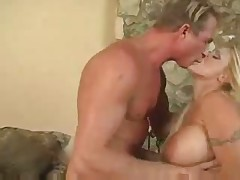 Busty blonde strapon fuck