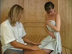 Young girls in sauna. Hardcore fuck