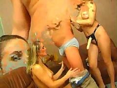 Strapon and hardcore in threesome scene