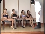4 girls in pantyhose fucks by one lucky fucker