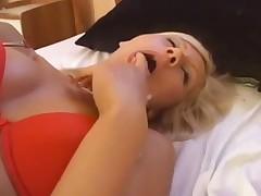 Slender blonde milf in sexy red lingerie enjoys 69