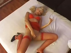 Slender blonde milf in sexy red lingerie enjoys 69