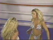 busty blonde bikini clad bitches wrestling