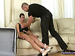 Flexible doll gets anal oral and in pussy hard