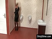 Blondie taking sperm on gloryhole