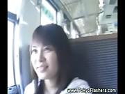 Slutty asian gets wet on train and touches herself