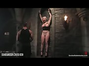 Bound busty blonde babe punished by spanking