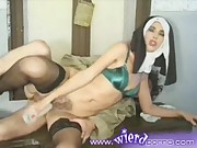 Nun is double penetrated with a cock and a huge candle