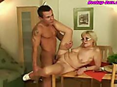 Blonde mature granny have hardcore sex