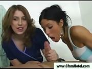 Cfnm whores give handjob