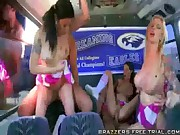Cheerleader Orgy on the School Bus