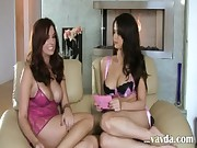 Two titty brunette lezzies in lingerie