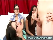 CFNM guy jerks for girl in glasses and her friends