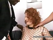 Redhead takes black and white dick