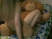 Teddy bear strapon Oral  with Anna