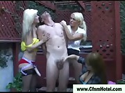 Cfnm sluts rough handjob