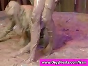 Wam chicks have dirty mud wrestling fight