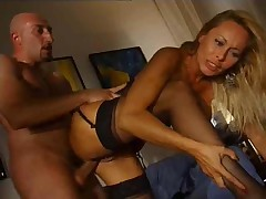 Fake tits blonde in lovely lingerie nailed hardcore