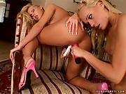2 Blonds in white lingerie